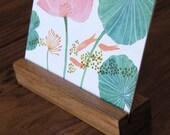 2017 Floral Desk Calendar with Teak Wood Stand, botanical illustration, flowers, inspirational, messages