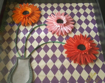 Three dimensional quilling-gerbera picture (frame included)