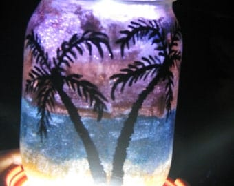 Palm tree beach theme candle holder