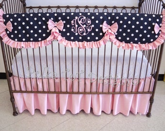 Navy & Pink Baby Bedding: Bumperless set has Scalloped Rail Guard with ruffle- Girl's Crib Bedding  Ivy