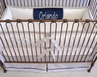 Baby Bedding  Oatmeal & Navy bedding: Orlando