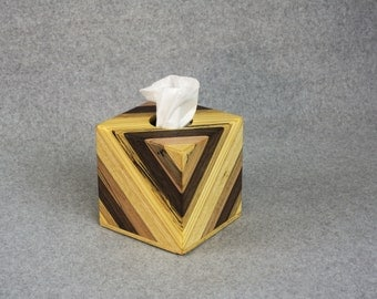 Tissue Box Cover - Unique Wooden Handcrafted Tissue Box Cover - Continous Pattern with Various Widths of Maple, Walnut, Pine and Ash Strips