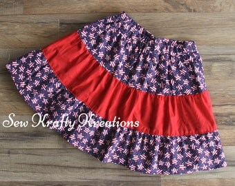American Flag Stars with Red Middle Tier Patriotic Skirt