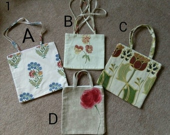 Small Flat Cotton Tote Bag Fully Lined
