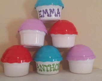 Personalized Cupcake Container Favors, Custom Cupcake Containers, Baby Shower Favors, Sweet Favors, Custom Shower Favors