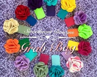 GRABBAG Felt Layered/Puff Flower Clips