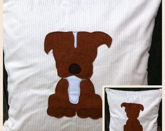 tan staffordshire terrier (staffie) - cream soft  cord Cushion with a tail