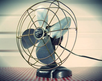 "Vintage 1940s ""ZERO!"" Aluminum Blade Fan by Bersted Mfg. Co."
