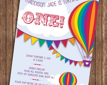 Rainbow Hot Air Balloon Birthday Invitation
