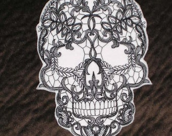 Embroidered Patch / applique - lace skull - sew or glue on 6x5 ANY COLORS