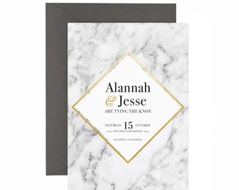 Marble & Faux Gold Save the Date