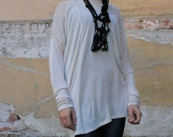 New, Beige cotton top/ extravagant tunic/asymmetric tunic, plus size tunic, - UM-058-PT
