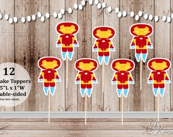 Action Superhero Boy Party - Set of 12 Boy Iron Man Inspired Double Sided Cupcake Toppers
