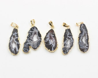 Geode Pendants -- With Electroplated Gold Edge Druzzy Drusy Geode Charms Wholesale Supplies Handmade CQA-010