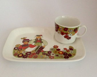 Figgjo Flint Norway Turi Design Folklore Cup and Plate
