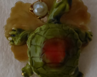 Original by Robert, collectible, enameled green and orange turtle with pearl pin/brooch