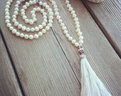 108 White Fresh Water Pearls Individually Knotted Mala Necklace