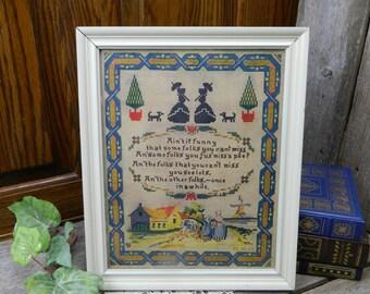 Antique 1917 Cross Stitch Dutch Saying - P. F. Volland & Co. - Chicago