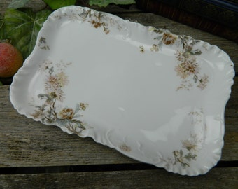 Antique H & Co. Haviland and Co. Limoges France Large Transferware Platter - Chrysanthemum