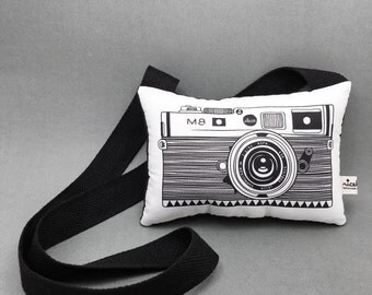 Soft toy camera / Stuffed toy camera / Monochrome decor