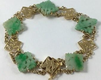 "Vintage Retro Art Deco 14k Yellow Gold Carved Jade Rectangle Bracelet 7.25"""