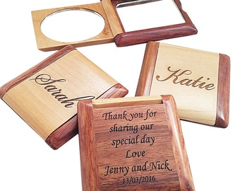 2 Personalized Engraved Compact Mirror - Custom Compact Mirror - Pocket Mirror - Engraved Compact Mirror - Makeup Mirror - Engraved Mirror