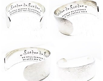 Sister Gift | Sister Love | Nutty Sisters | Best Friends | Sisters | Personalized Bracelet | Hand Stamped Jewelry By Glam and Co (C078)