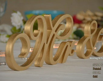 MR & MRS Gold, Unpainted Mr and Mrs Wedding sign, Mr and Mrs Wedding Photo Prop, Mr and Mrs Wedding Table Decoration