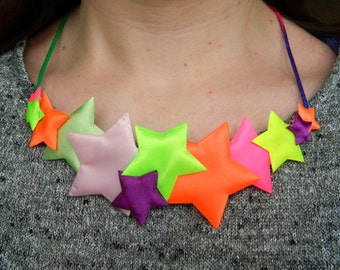 Handmade Bright Florescent Satin Star Fabric Bib Statement Necklace