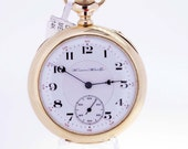 14K Gold Hampden Watch Co Pocket Watch with Original Engraved Angel