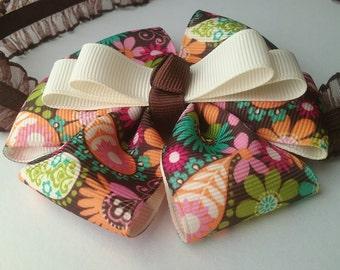 Brown and Multi Pinwheel Ruffle Elastic Headband