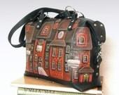 leather bag leather handbag  applique  painted houses shoulder bag Top Handle Bags black sac en cuir Ledertasche CityRomance