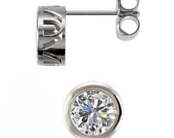 Round Cut 1.00 CTW Stud Earrings Brilliant Filigree Bezel Design Push Back Post in Solid 14K White Gold