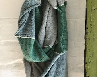 Forest Grey Green Lovat Knitted Soft Textured Cowl in Cotton - UK, Vegan, Autumn Gift