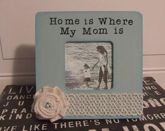 gift for Mother Mom picture frame, birthday gift for Mom mother's day gift Mommy frame blue burlap frame handmade frame mom appreciation