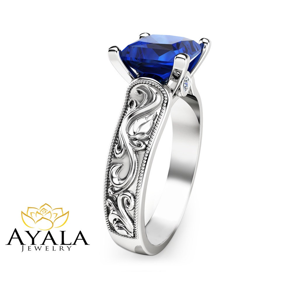 princess cut blue sapphire ring in 14k white gold unique 2