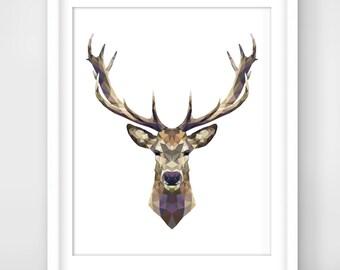 30% OFF SALE Deer Head Print, Realism Geometric Deer Art, Realism Geometric Home Decor,  Realism Geometric Art, Geometric Wall Print