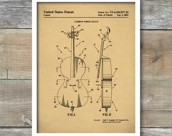 Cello Patent Print, Musician Wall Art Poster, Music Room Décor, Musician Gift Idea, Violoncello, Orchestra, Music Studio Poster, P348