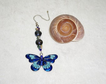 Blue Butterfly Fan Pull,  Dark Blue Fan Pull, Blue Fan Pull,  Butterfly Home Decor,  Light Pull,  Ready To Ship,  Housewarming