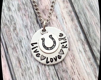 Horse Jewelry, Live Love Ride, Horse Necklace, Horse Riding Gift, HandStamped Jewelry,  Aluminum Stamped Disc