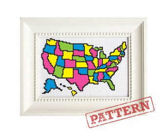 United States Map Color In Cross Stitch Pattern