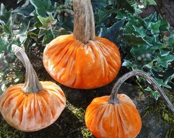 Handmade Pumpkin Orange velvet pumpkin with real dried stems.