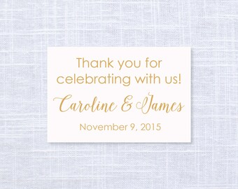 Blush and Gold Wedding Favor Tags / Thank You Gift Tags / #1004