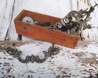 Set of 6 Vintage Brass Scroll Drawer Pulls