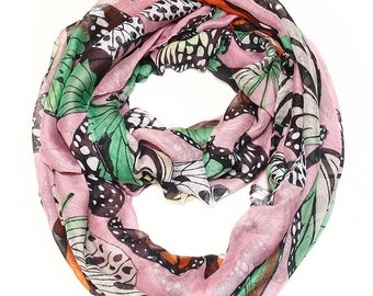 Exotic Monarch Butterfly Infinity Scarf in Rose Quartz