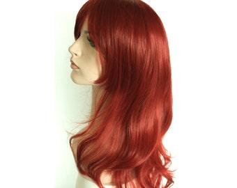 Long wavy curly mahogany color wig. ready to ship.