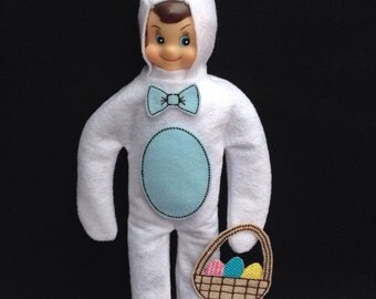 """Easter Bunny Elf Costume - Blue - Easter Basket - Christmas Elf Clothes - Elf Costume - Holiday Elf - 12"""" Doll Clothes"""