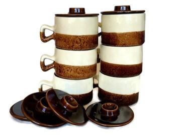 Vintage Onion Soup Crocks with Lids, Individual Casserole Pots, Canadian Pottery, Set of Six