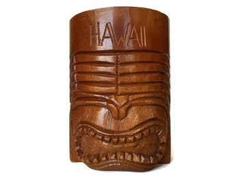 Large Tiki Cup, Wood Mug with Handle, Retro Hawaii