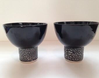 Japanese Black Porcelain Tea Bowls, Set of two